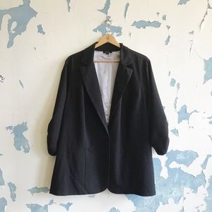 Torrid Classic Black Ruched 3/4 Sleeve Blazer